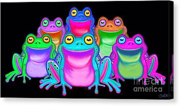 Canvas Print featuring the painting Colorful Froggies by Nick Gustafson