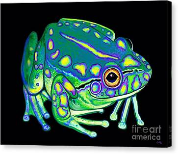 Canvas Print featuring the painting Colorful Froggy 2 by Nick Gustafson