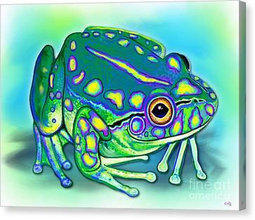 Canvas Print featuring the painting Colorful Froggy by Nick Gustafson