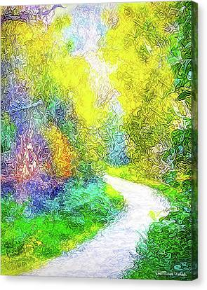 Canvas Print featuring the digital art Colorful Garden Pathway - Trail In Santa Monica Mountains by Joel Bruce Wallach
