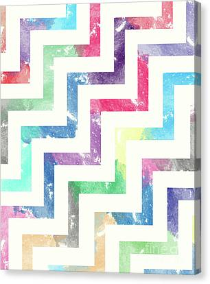 Colorful Abstract Canvas Print - Colorful Geometric Patterns Vi by Amir Faysal