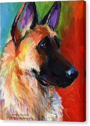 Portraits Canvas Print - Colorful German Shepherd Painting By by Svetlana Novikova