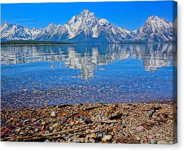 Colorful Grand Teton Reflection From Dollar Island Canvas Print