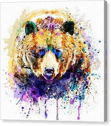 Colorful Paints Canvas Print - Colorful Grizzly Bear by Marian Voicu
