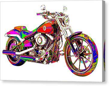 Colorful Harley-davidson Breakout Canvas Print
