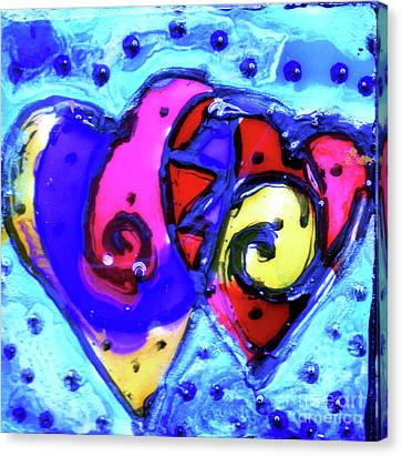 Colorful Hearts Equals Crazy Hearts Canvas Print by Genevieve Esson