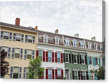 Colorful Historic Row Houses Canvas Print by Edward Fielding
