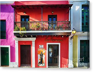 Puerto Rico Canvas Print - Colorful Historic Spanish Colonial Style House In Old San Juan by George Oze