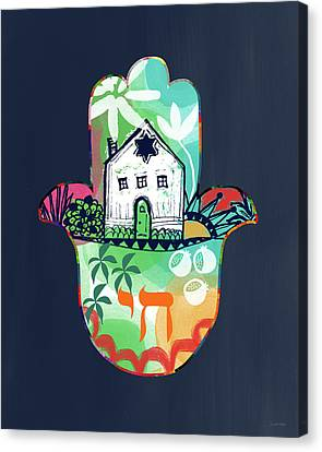 Jewish Canvas Print - Colorful Home Hamsa- Art By Linda Woods by Linda Woods
