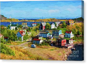 Colorful Homes In Trinity, Newfoundland - Painterly Canvas Print by Les Palenik