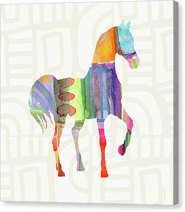 Colorful Horse 3- Art By Linda Woods Canvas Print by Linda Woods