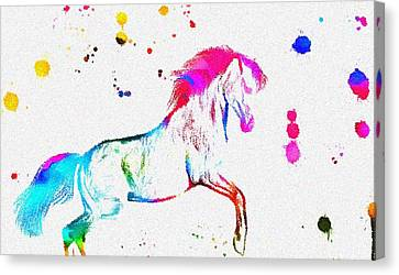 Colorful Horse Paint Splatter Canvas Print by Dan Sproul
