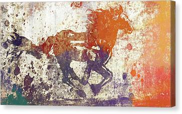 Colorful Horse Running Grunge Canvas Print