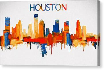 Colorful Houston Skyline Silhouette Canvas Print