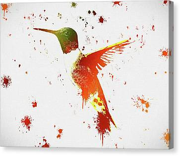Colorful Hummingbird Paint Splatter Canvas Print by Dan Sproul