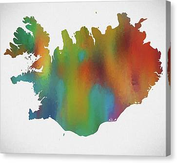 Colorful Iceland Map Canvas Print by Dan Sproul