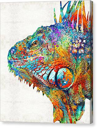 Fun Canvas Print - Colorful Iguana Art - One Cool Dude - Sharon Cummings by Sharon Cummings
