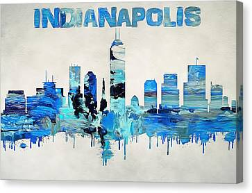 Colorful Indianapolis Skyline Silhouette Canvas Print by Dan Sproul