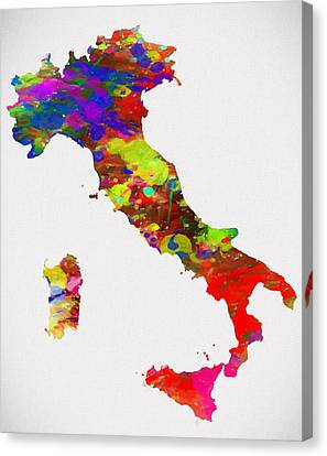 Colorful Italy Map Canvas Print by Dan Sproul