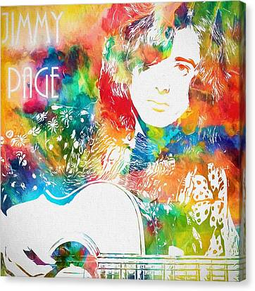 Colorful Jimmy Page Canvas Print by Dan Sproul