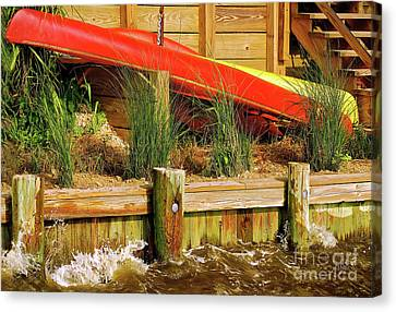Canvas Print featuring the photograph Colorful Kayak Duo by Lois Bryan