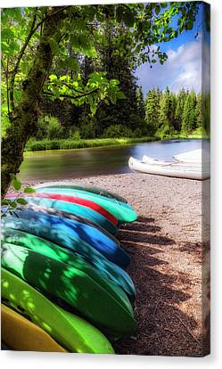 Colorful Kayaks Canvas Print by Cat Connor