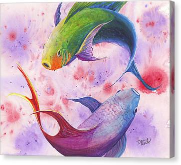 Canvas Print featuring the painting Colorful Koi by Darice Machel McGuire