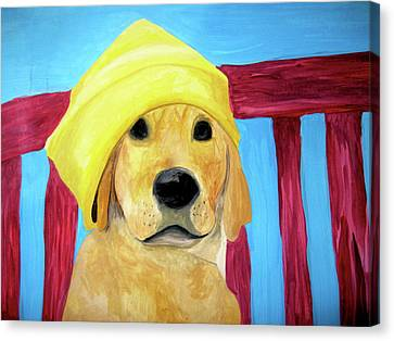 Canvas Print featuring the painting Colorful Lab by Rebecca Wood