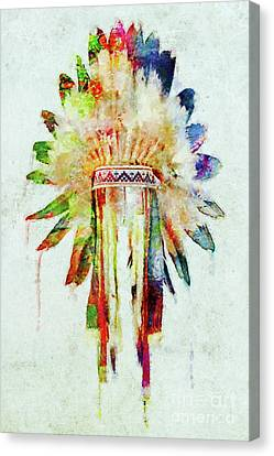 Colorful Lakota Sioux Headdress Canvas Print by Olga Hamilton