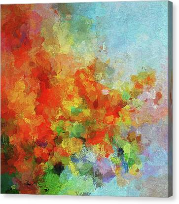 Canvas Print featuring the painting Colorful Landscape Art In Abstract Style by Ayse Deniz