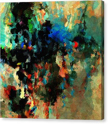 Canvas Print featuring the painting Colorful Landscape / Cityscape Abstract Painting by Ayse Deniz