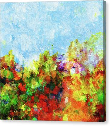Canvas Print featuring the painting Colorful Landscape Painting In Abstract Style by Ayse Deniz