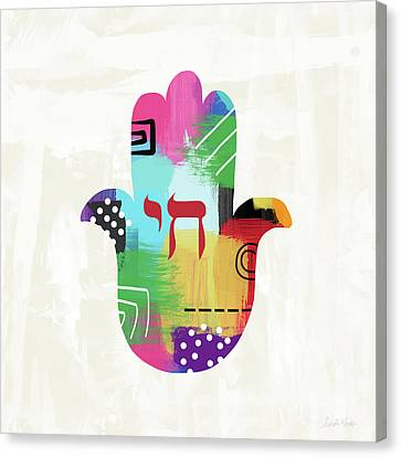 Colorful Life Hamsa- Art By Linda Woods Canvas Print by Linda Woods