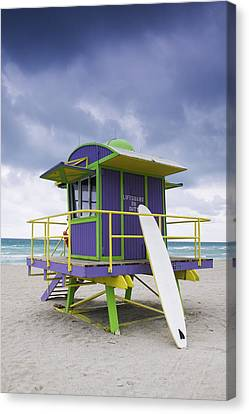 Colorful Lifeguard Station And Surfboard Canvas Print by Jeremy Woodhouse