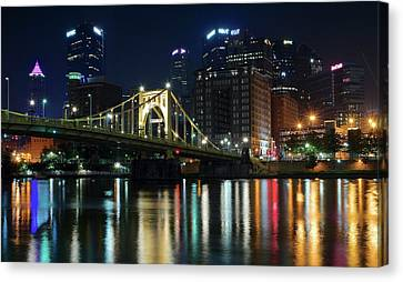 Colorful Lights On The Allegheny Canvas Print by Frozen in Time Fine Art Photography