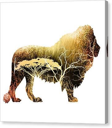 Colorful Lion Art Canvas Print by Diana Van