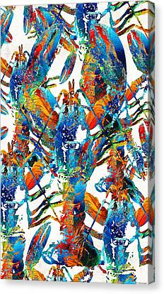 Colorful Lobster Collage Art - Sharon Cummings Canvas Print