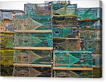 Colorful Lobster Traps Canvas Print by Colleen Kammerer