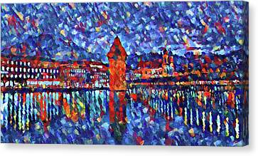 Colorful Lucerne Skyline Canvas Print by Dan Sproul