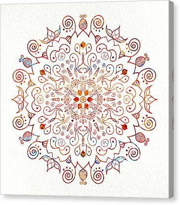Colorful Mandala On Watercolor Paper Canvas Print