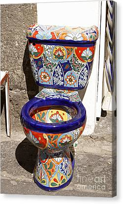 Colorful Mexican Toilet Puebla Mexico Canvas Print by John  Mitchell