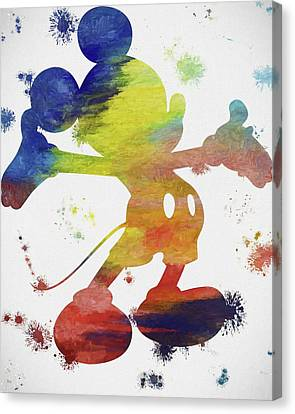 Colorful Mickey Mouse Paint Splatter Canvas Print by Dan Sproul