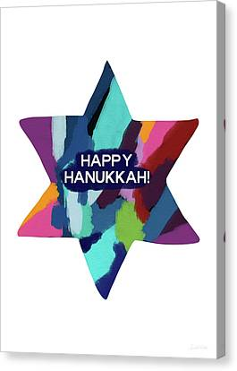 Friend Holiday Card Canvas Print - Colorful Modern Hanukkah- Art By Linda Woods by Linda Woods