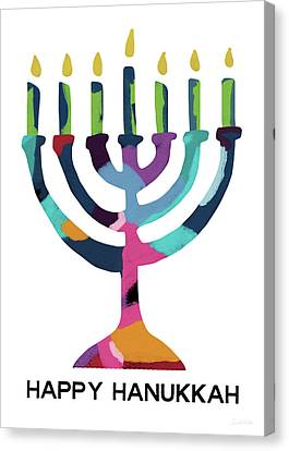 Friend Holiday Card Canvas Print - Colorful Modern Menorah- Art By Linda Woods by Linda Woods