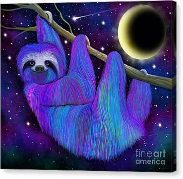 Colorful Moonlight Sloth Canvas Print