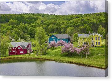 Canvas Print featuring the photograph Colorful Mountain Homes by Paula Porterfield-Izzo