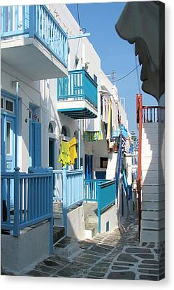 Canvas Print featuring the photograph Colorful Mykonos by Carla Parris