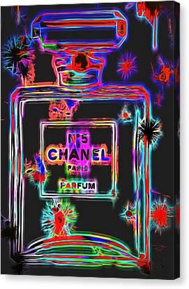 Colorful Neon Chanel Five  Canvas Print