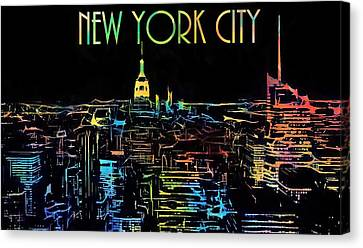 Colorful New York City Skyline Canvas Print by Dan Sproul