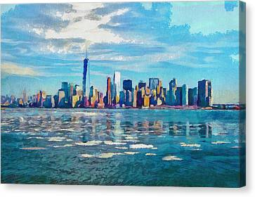 Colorful New York Skyline Painting Canvas Print by Wall Art Prints